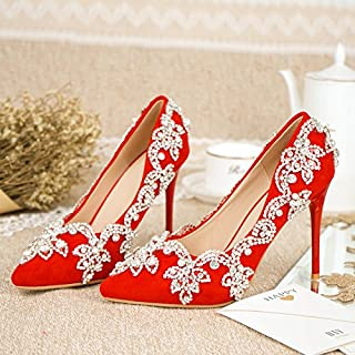 VIVIOO Prom Sandals Red Bride Shoes In The,Water Drill,Coarse Heels,Wedding Red Shoes,WomenS Chinese Style Shoes,5.5Cm Heel,8 Scarpe sportive Sandali sportivi