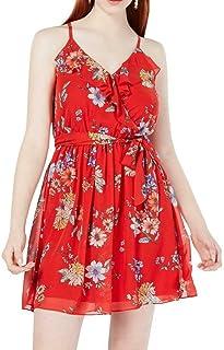 BCX Womens Juniors Floral V-Neck Tank Dress Red XL