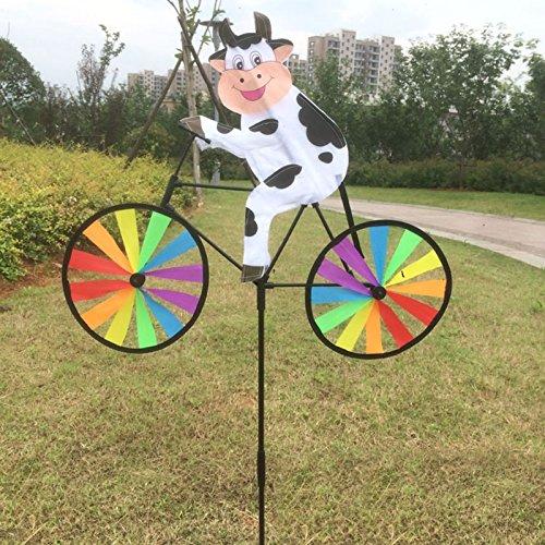 LANDUM Niedliches 3D-Tier-Windrad auf dem Fahrrad, Whirligig Garten Rasen Hof Decor Windspiel Kuh