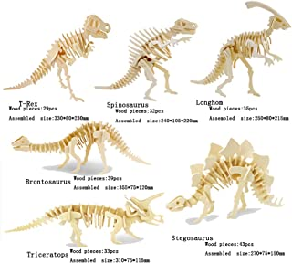 3D Wooden Animal Puzzle T-rex,Spinosaurus,Longhom,Brontosaurus,Tricerotops,Stegosaurus 3D DIY Assembly Model Gift Toy for Kids and Adults (6 Piece/Set)