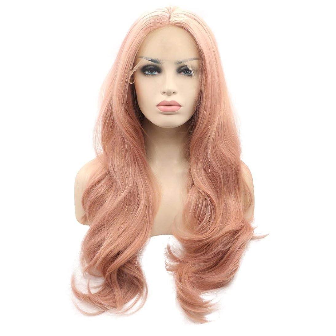 安息脱獄メディア26インチ長いウェーブのかかったピンクヒートセーフ合成毛レースフロントかつら、まともな別れスペース透明レース用女性女性 (Color : Pink)