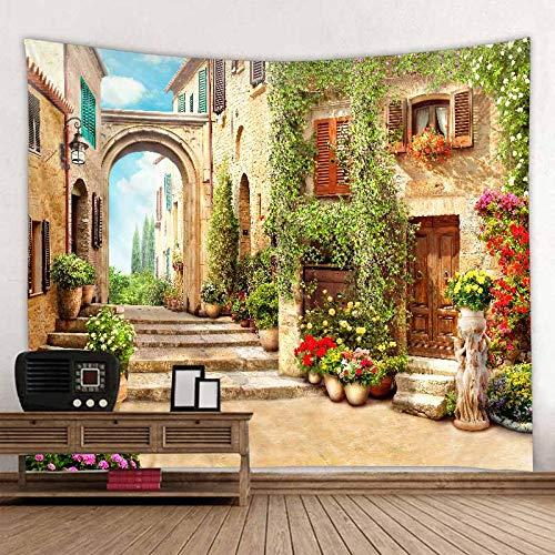 JXWR Hermosa Arquitectura Antigua impresión de Pared Hippie Tapiz Tela de poliéster decoración del hogar Alfombra de Pared Alfombra Colgante Gran sofá Manta 150x130 cm