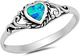 Oxford Diamond Co Solid Sterling Silver Heart Antique Filigree Promise Engagement Ring Sizes 4-10 Colors Available