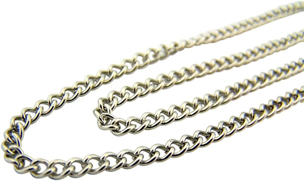 Religious Gifts Stainless Steel Endless Heavy Curb Chain for Saint Medals or Crosses, 24 Inch
