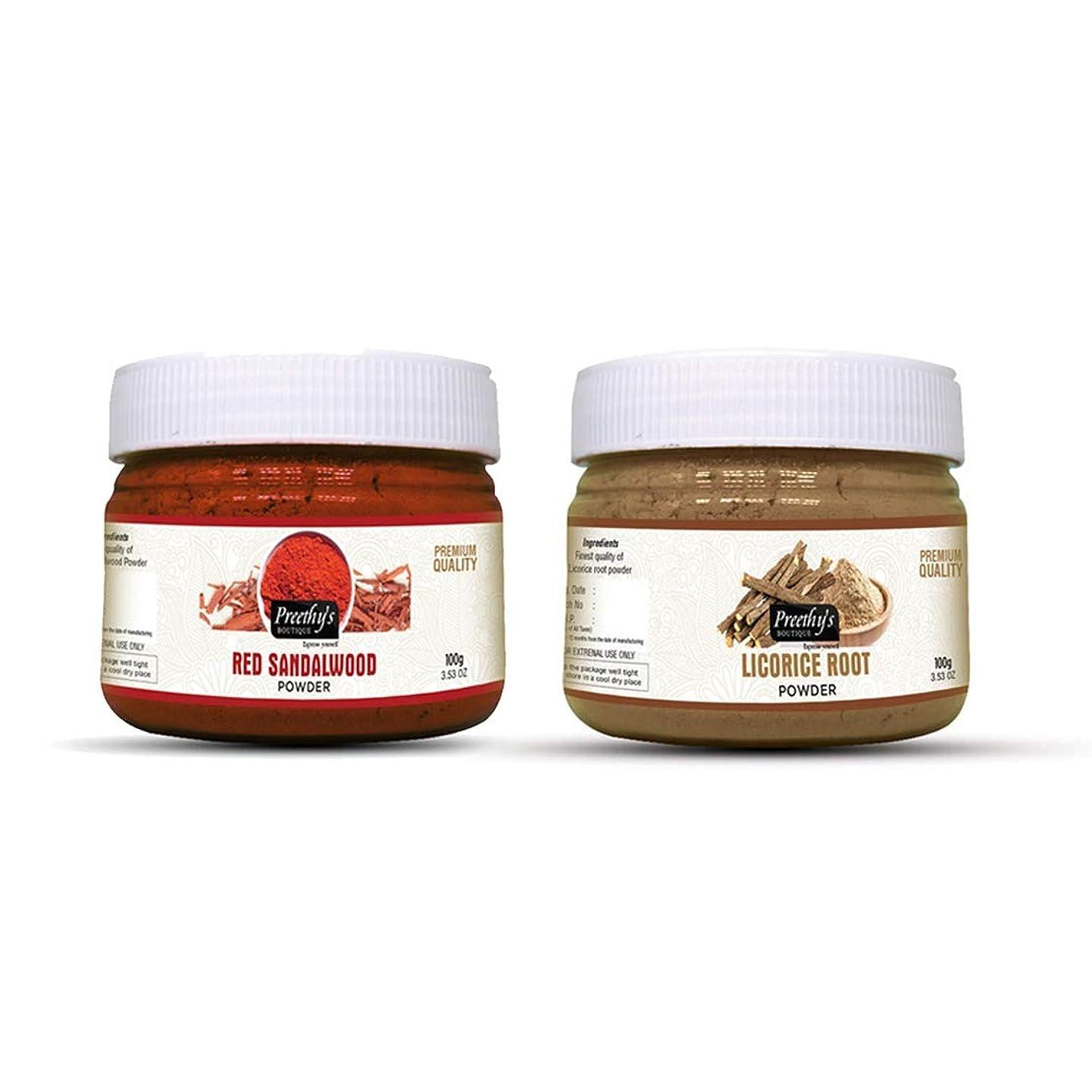 マートまで故国Combo offer Of Licorice root powder 100gm & Red sandalwood powder 100gm - Natural Remedies for Skin Disorders, Enhancing the beauty of the skin, Anti acne & Pimple - 甘草ルートパウダー100gmとレッドサンダルウッドパウダー100gmのコンボオファー-皮膚疾患の自然療法、肌の美しさの向上、にきびとにきび