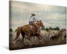 Premium - Lienzo de tela (45 x 30 cm, horizontal), diseño de calendario de Mecklemburgo salvaje Oeste, imagen sobre bastidor, listo para trabajar en el oeste