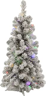 Vickerman Flocked Kodiak Artificial Christmas Tree with 50 Multi-Colored LED and 15 Multi-Colored G40 LED Lights, 3' x 20