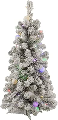 """Vickerman Flocked Kodiak Artificial Christmas Tree with 50 Multi-Colored LED and 15 Multi-Colored G40 LED Lights, 3' x 20"""""""
