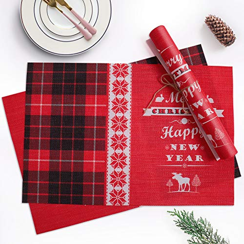 Christmas Placemats Set of 4 Red Black Buffalo Plaid Christmas Decorations Place Mats for Dining Table, Washable Xmas New Year Table Mats for Table Kitchen Decorations, Size:11.8 × 17.7 inch