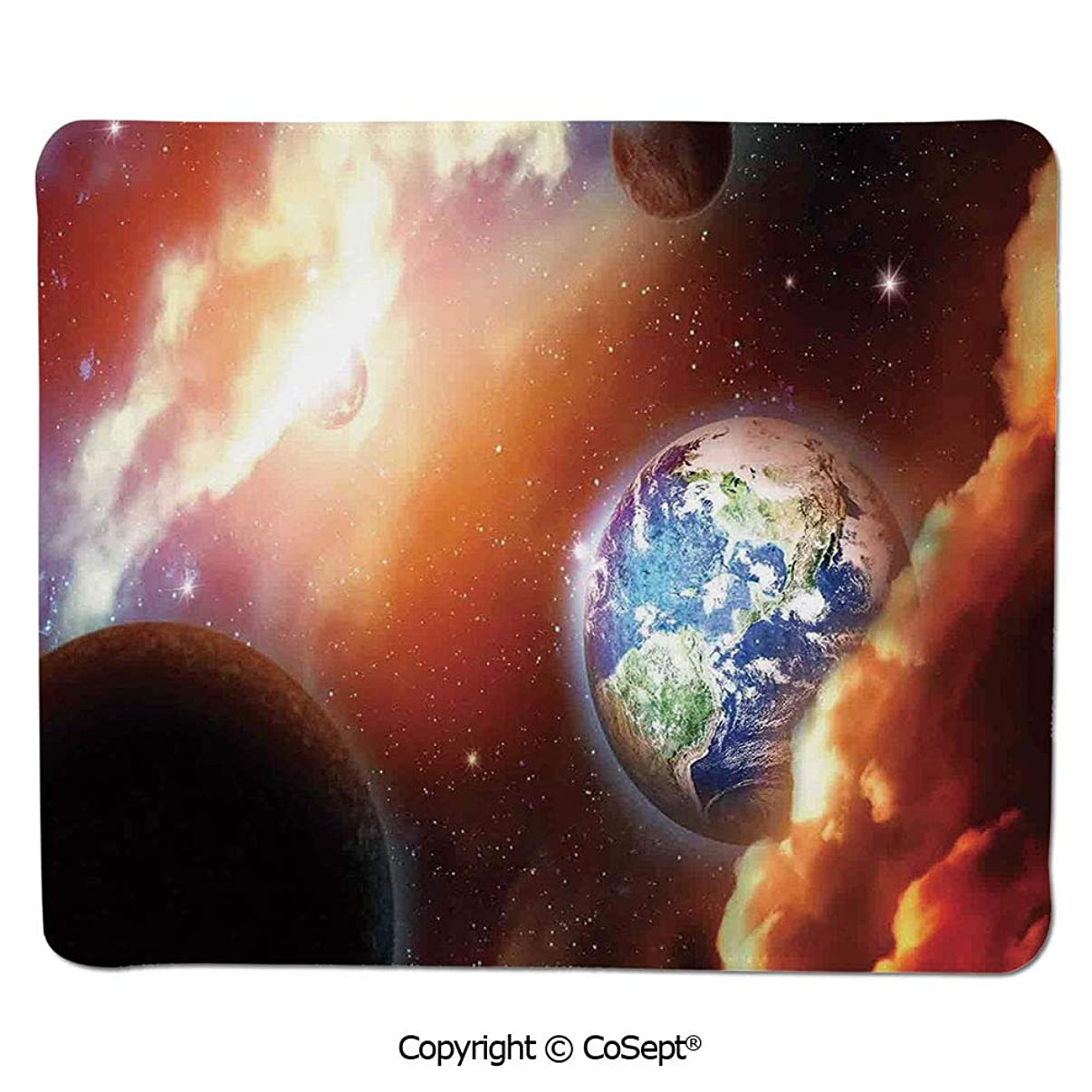 Gaming Mouse Pad,Dust Cloud Nebula Stars in Solar System Scene with Planet Earth Pluto and Neptune,for Laptop,Computer & PC (15.74