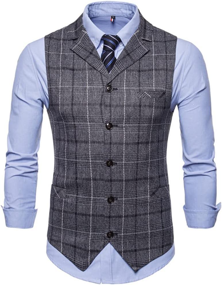 YFQHDD Mens Vest Casual Business Men Suit Vests Male Lattice Waistcoat Fashion Mens Sleeveless Suit Vest Smart Casual (Color : B, Size : L code)