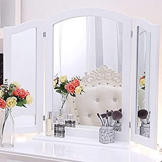 Chende Trifold Mirror with Detachable Base, 3 Way Mirror for Vanity Desk, Wood Hollywood Cosmetic Mirror in Bedroom, Tabletop or Wall Mounted (32.67