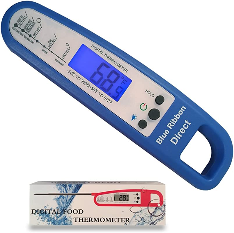 Blue Instant Read Thermometer With Backlight For Meat BBQ Cooking For Food Kitchen
