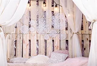LFEEY 9x6ft Loft Bedroom Interior Canopy Backdrop for Wedding Photography White Room Decorations Curtain Drapes Dream Catcher with Feathers Pearls on Wooden Photographic Studio Photo Background