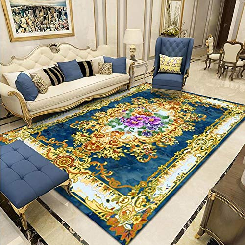 Oukeep European-Style Large Carpet, Family Living Room, Large Area Sofa, Coffee Table, Bedroom, Bedside, Carved Cushion, Thick, Non-Slip, Washable