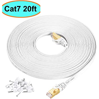Cat7 Ethernet Cable 20 ft White Shielded (STP), AULLOV High Speed Flat RJ45 Cat-7/Category 7 Internet LAN Computer Patch Cord Cable, Faster Than Cat5/Cat6-20 Feet White (6 Meters)