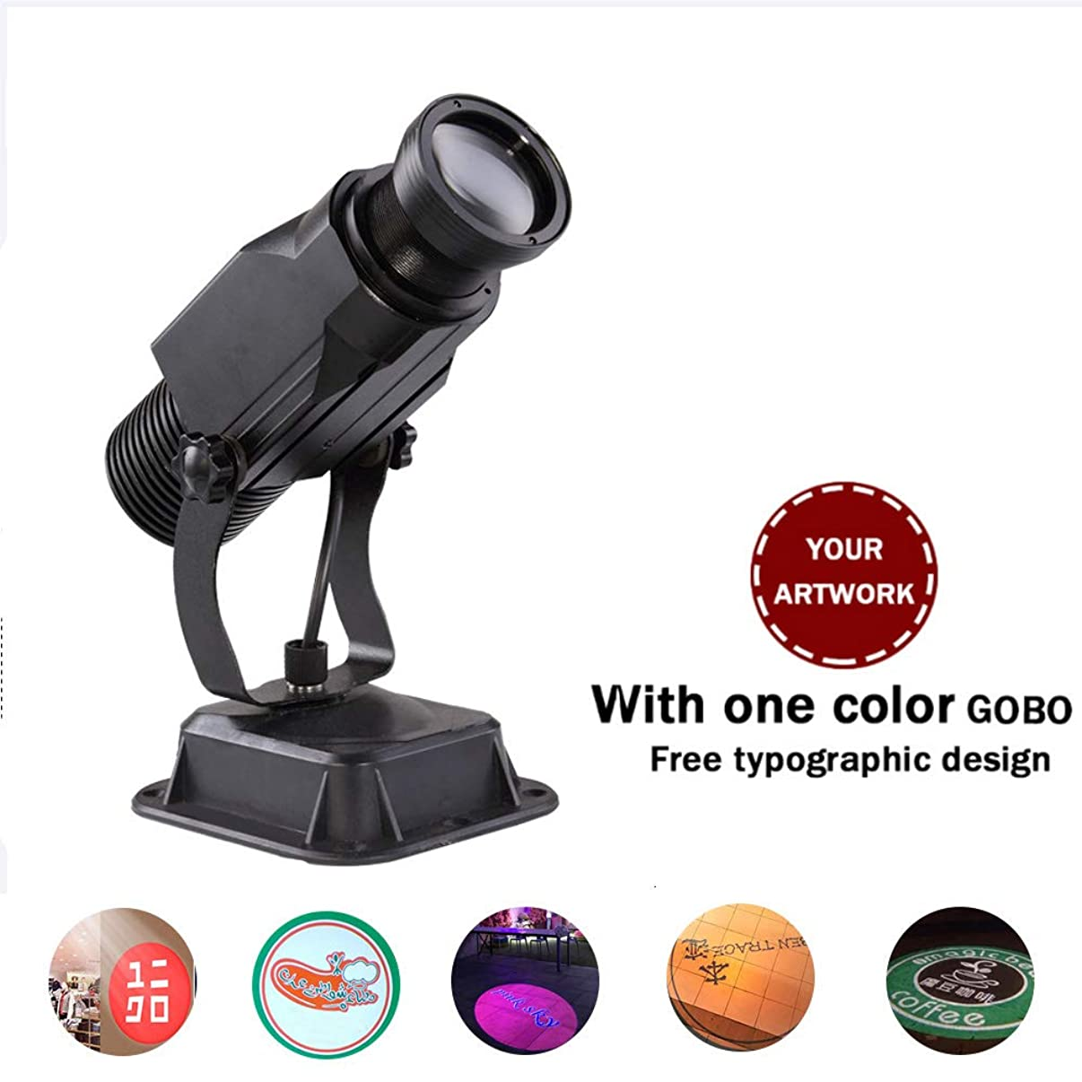 AMAZOIN Led Custom Image GOBO Logo Projector Light with Manual Zoom&Focus Customized Gobos for Party Lighting, Landscape Light, Dj Wedding and Advertisement (15W, Outdoor Waterproof)