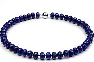8x12mm Azure Blue Round Lapis Lazuli Beads Necklace Gemstones of Buddhism 19''