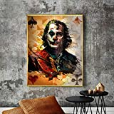 YuanMinglu Modernes abstraktes Porträtkunstplakat und Druckwandbild Leinwand-Clownkunstbild rahmenloses Gemälde 60x75cm
