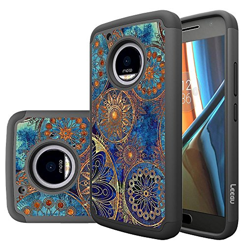 Moto G5 Plus Case, LEEGU [Shock Absorption] Dual Layer Heavy Duty Protective Silicone Plastic Cover Case for Motorola G Plus 5th Generation - Gear Wheel