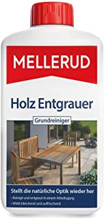 Mellerud Holz Entgrauer Grundreiniger – Kraftvoller Schutz vor Verwitterung und Schmutz auf Allen Holzoberflächen im Außenbereich – 1 x 1 l
