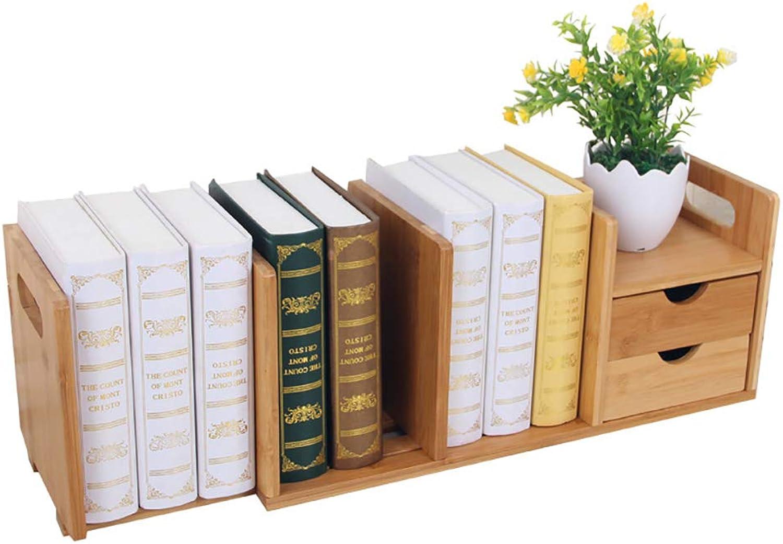 Compra calidad 100% autentica WBHD Librerias Librerias Librerias de Madera, Librería con 2 cajones Estante de Almacenamiento de Escritorio de bambú de 80 x 18 x 21cm para estantería de Escritorio para el hogar y la Oficina  Tienda 2018