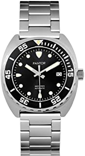Pantor Sealion 300m Mens Automatic 42mm Pro Dive Watch with Helium Valve Rotating Bezel Sapphire Bracelet & Rubber Strap Diving Watch
