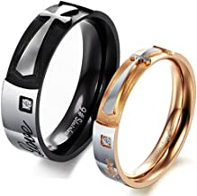 Fashion Month Mens Womens Black Rose Gold Stainless Steel Engrave True Love Cross Couples Ring Promise Band CZ Inlay