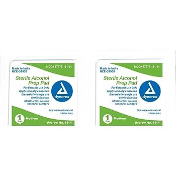 Dynarex Alcohol Prep Pad Sterile medium 20/100/Cs
