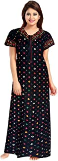 YUKATA Womens Cotton Printed Nighty, Free Size.(Black)