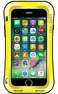Carcasa de Love Mei para Apple iPhone 7(4,7 pulgadas), estilo curvo, impermeable, a prueba de golpes y de polvo, de aluminio con protector de pantalla de vidrio templado