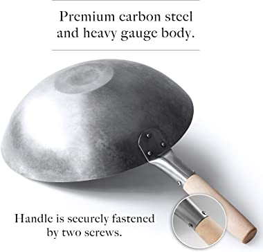 Flat Bottom Wok, Traditional Hand Hammered Wok, 14 Inch Carbon Steel Chinese Pow Wok by Mammafong…