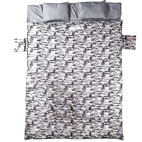 WELLAX Double Sleeping Bag for Camping Backpacking or Hiking- Extra Large, Waterproof, and Compact...