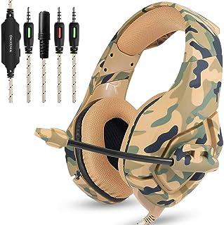 DZSF Camouflage Headset Bass Gaming hörlurar spelhörlurar Casque med mikrofon för PC mobiltelefon Xbox One surfplatta, A