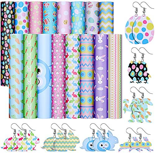 16 Pieces Easter Faux Leather Sheets 6 3 x 8 3 Inches Easter Bunny Egg Flower Pattern Printed product image