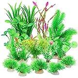 TBoxBo Plantas de pecera, plantas de acuario, decoración de acuario, plantas de plástico, decoración de pecera, acuario, plantas verdes, plantas acuáticas artificiales para decoraciones de acuario