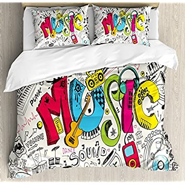Ambesonne Music Duvet Cover Set, Pop Art Featured Doodle Style Musical Background with Instruments Sound Art Illustration, 3 Piece Bedding Set with Pillow Shams, Queen/Full, Multi