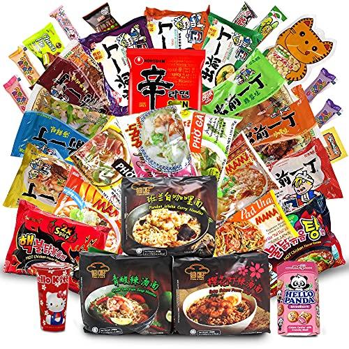 Variety Asian Instant Ramen Bundle   Samyang, Nissin, Red Chef, Nongshim, Mama   Free Snacks...