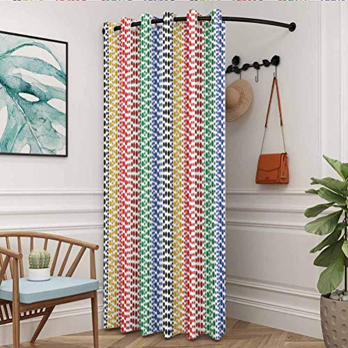 flymeeo 100' W x 108' L Colorful Darkening Curtain 100% Blackout Curtains for Bedroom Abstract Art Style Colorful Retro Pattern with Circles Geometric Illustration Multicolor