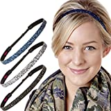 Hipsy Women's Adjustable NO SLIP Skinny Bling Glitter Headband Multi 3pk (Black/Gunmetal/Navy)