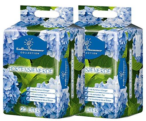 Floragard Endless Summer Hortensienerde blau 2x20 L • zum Pflanzen und Umtopfen • für Beet- und Kübelbepflanzung • für blaue Hortensien • mit Tongranulat • 40 L