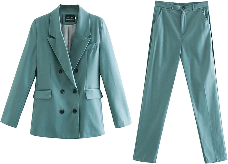 Blazer + Pant Two Peice Set Women Double Breasted Suit Jacket High Waist Pants