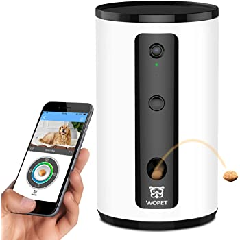 WOpet 自動給餌器ドッグカメラ父の日贈り物 携帯で餌を飛び出す1080Pカメラ付き 双方向会話 暗視 ペットを見るための暗視機能付き フルHD WiFiペットカメラペット留守番 見守りカメラ 猫ちゃん中小大型犬 iOS Android対応(ホワイト)