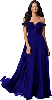 Women's Off The Shoulder V Neck Chiffon Lace Bodice Prom Dress Long Formal Evening Gown