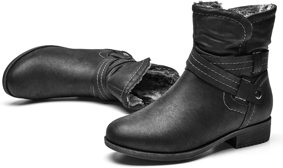 VJH confort Women's Mid Calf Boots, Fur Lined Round Toe Low Heel Cross Straps Slouchy Booties with Zipper