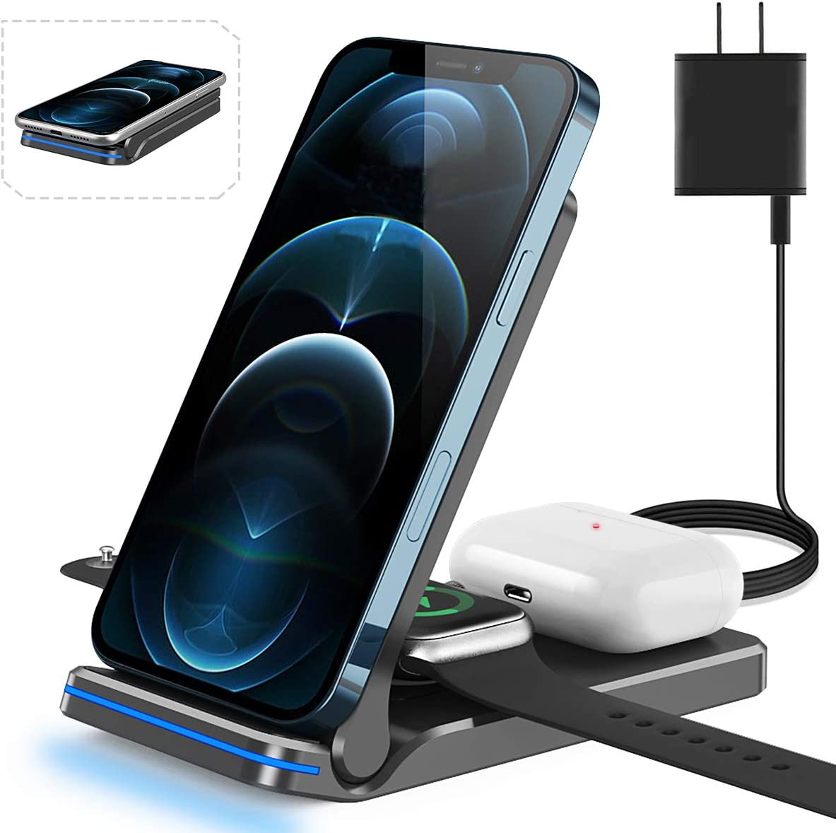 3 in 1 Wireless Charging Station for Apple iPhone Watch Airpods, Almsbo 15W Fast Wireless Charger for Apple iWatch 6/SE/5/4/3/2/1,AirPods 3/2/1, iPhone 11/12 Series/XS MAX/XR/XS/X/8/8 Plus
