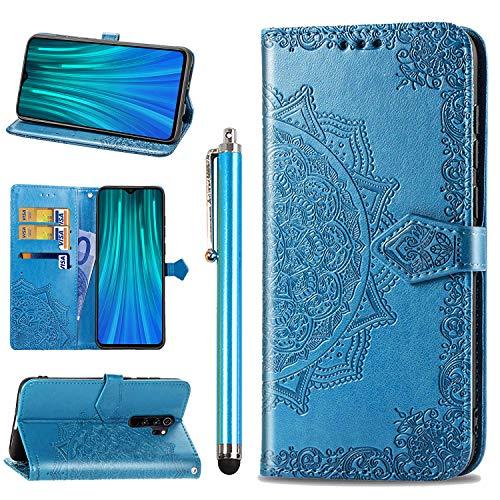 Annhao Funda para Xiaomi Redmi Note 8 Pro + Lápiz Para Pantalla Táctil, Funda Cuero Libro Función de Soporte Ranura para Tarjeta con TPU Silicona Carcasa Protector para Xiaomi Redmi Note 8 Pro -Azul