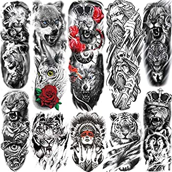 SANATA 10 Sheets Realistic Animals Full Sleeve Temporary Tattoos For Men Adults Extra Big Black Lion Face Full Arm Temporary Tatoo For Women Paper Gladiator Warrior Fake Temp Tattoo Sticker Wolf Tiger