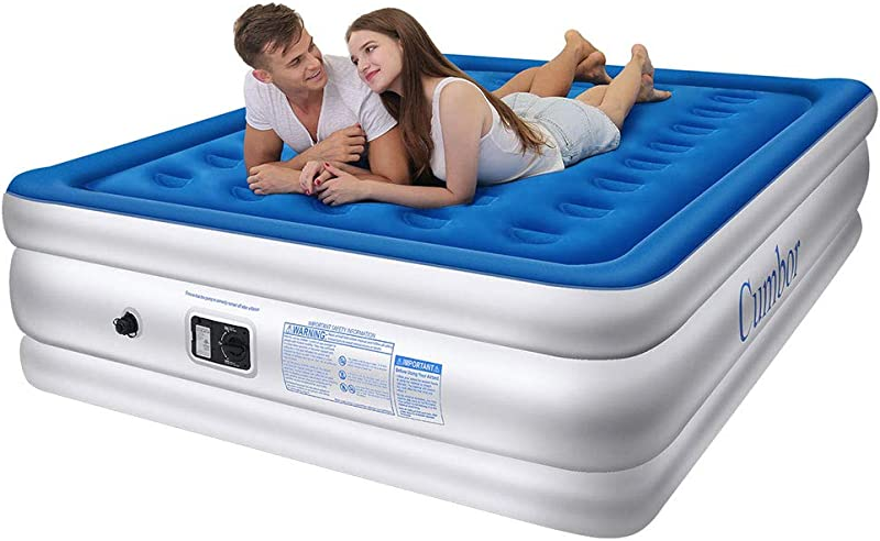 Cumbor Luxury Queen Air Mattress With Built In Pump Best Inflatable Airbed With Structured Air Coil Technology 18 Double Height 0 45mm Extra Thick Elevated Raised Air Mattress 2 Year Guarantee