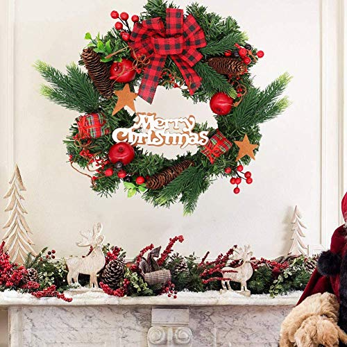 "16"" Christmas Wreath for Front Door, Artificial Xmas Wreath Hanging, Evergreen Garland with Bowknot, Pinecone, Apple, Red Berries, Present Ornaments for Home Party Decoration Holiday Winter Gift"